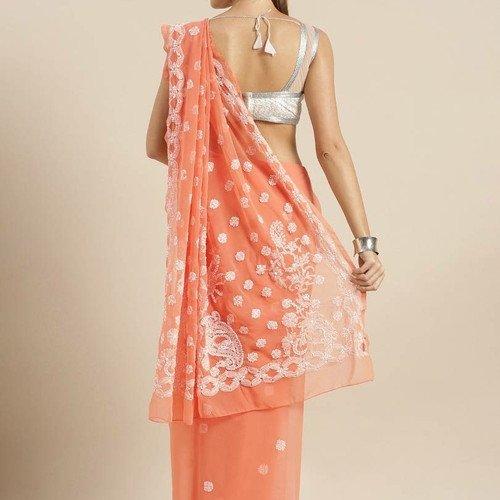 peach and white saree